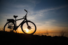 Silhouette of a bike Royalty Free Stock Photography
