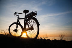 Silhouette of a bike Royalty Free Stock Photo
