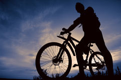 Silhouette of biker Royalty Free Stock Image