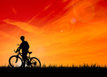 Silhouette of the biker royalty free stock image