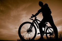 Silhouette of biker Stock Photo