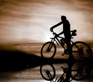 Silhouette of biker Royalty Free Stock Photo
