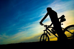Silhouette of biker Stock Image