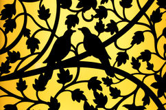 Silhouette bird and flower curve steel of window background Royalty Free Stock Image