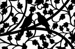 Silhouette bird and flower curve steel of window background Stock Photos