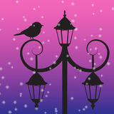 Silhouette of bird sitting on lamppost under the snow Royalty Free Stock Photos