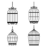 Silhouette birdcages collection set. Royalty Free Stock Photo