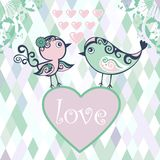 Silhouette birds with small decorative pattern. Ca Royalty Free Stock Images