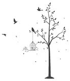 Silhouette of Birds with tree and birdcage Stock Photos