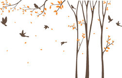 Silhouette of Birds with tree and birdcage Royalty Free Stock Images