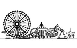 Silhouette Black Amusement Park. Vector. Silhouette Black Amusement Park Attraction Leisure in City Concept Element Web Design Style. Vector illustration stock illustration