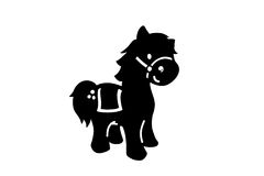 Silhouette black cartoon horse Stock Images