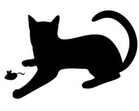 Silhouette black cat playing with a mouse stock illustration