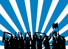 Celebrating fans with blue white background. Silhouette of black cheering Football or Music Fans celebrating in front of blue white stripes Stock Photo