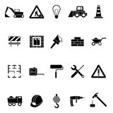 Silhouette Black Construction Icon Set. Vector Royalty Free Stock Photo