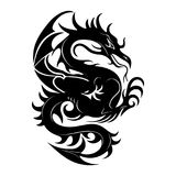 Silhouette of a black dragon fighting, on a white background,. Vector Royalty Free Stock Photos