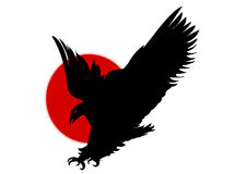 Silhouette black eagle flying. Silhouette of eagle over red sun symbol Royalty Free Stock Photos