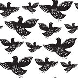Silhouette of black ethnic birds. Royalty Free Stock Image