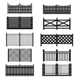 Silhouette Black Fence Icon Set. Vector Stock Photos