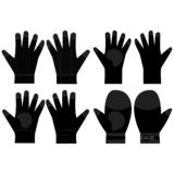 Silhouettes of protective pair of gloves. Top and bottom view. Illustration vectors sets. Construction gloves icons.  stock photography