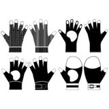Silhouettes of protective pair of gloves. Top and bottom view. Illustration vectors sets. Construction gloves icons.  royalty free stock photography