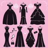 Silhouette of black party dresses,accessories Royalty Free Stock Photography