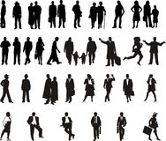 Silhouette - black people Stock Photo