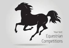 Silhouette of black running horse  - vector illustration of horse. Silhouette of black running horse - vector illustration Royalty Free Stock Image