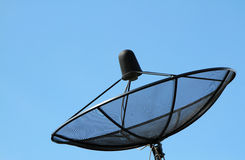 Silhouette of black satellite dish Royalty Free Stock Photography