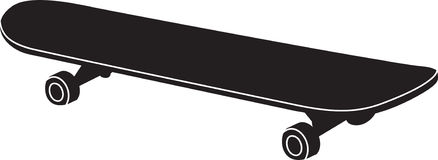 Silhouette in black of a skateboard Stock Image