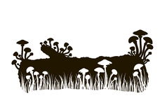 Silhouette of black and white mushrooms on a log in the grass Stock Image