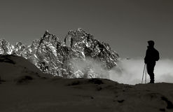 Silhouette. Black and white view of the High Tatras Royalty Free Stock Image