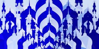 Silhouette blanche bleue de mosquée pour le fond de salutation d'Eid Muabrak Photos libres de droits