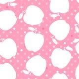 Silhouette blanche d'Apple sur un point de polka rose Configuration sans joint Illustration de vecteur illustration de vecteur