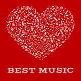 Silhouette blanche d'un coeur avec les notes musicales illustration libre de droits