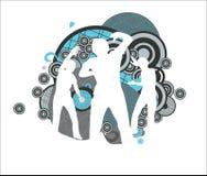 Silhouette blanche de la danse de gens sur les cercles abstraits Photographie stock libre de droits
