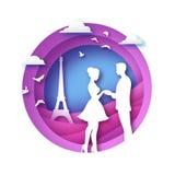 Silhouette blanche des amants romantiques avec Tour Eiffel dans le style de coupe de papier de Paris Amour Couples d'origami Rose illustration stock