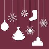 Silhouette blanche des décorations d'un arbre de Noël Photos libres de droits
