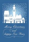 Silhouette blanche poétique de la ville antique pendant les chutes de neige de Noël, Noël de souhaits le Joyeux et une bonne anné Image libre de droits