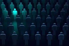 Silhouette bleu-clair d'une personne comme symbole de la liberté et de la protection Le chef des technologies sûres rendu 3d image stock