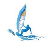 Silhouette bleue d'homme de planche à voile Image libre de droits