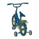 Silhouette bleue de la bicyclette d'un enfant avec le jaune Images libres de droits