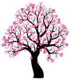 Silhouette of blooming tree theme 1. Eps10 vector illustration Stock Photography