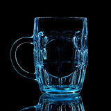 Silhouette of blue beer glass with clipping path on black background Stock Photography