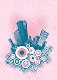 Silhouette of blue city. Silhouette of blue city on pink grunge background. Vector art Stock Photos