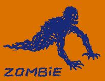 Silhouette of a blue crawling zombie with their legs torn off. Vector illustration. Drawing scary concept. The horror genre. Orange color background Stock Images