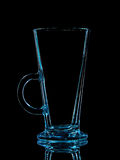 Silhouette of blue glass for shot with clipping path on black background stock photo