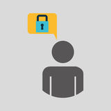 Silhouette blue man padlock protection design icon Royalty Free Stock Images