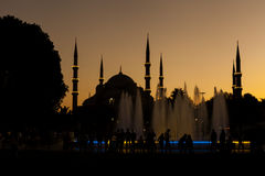 Silhouette of Blue Mosque Stock Image