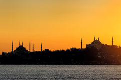 Silhouette of Blue Mosque and Aya Sofya in Istanbul Stock Photography